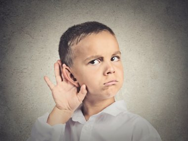 Curious man, boy, listens, hand to ear gesture