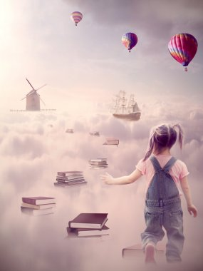 In search for knowledge concept. Girl walking down the book pass above clouds