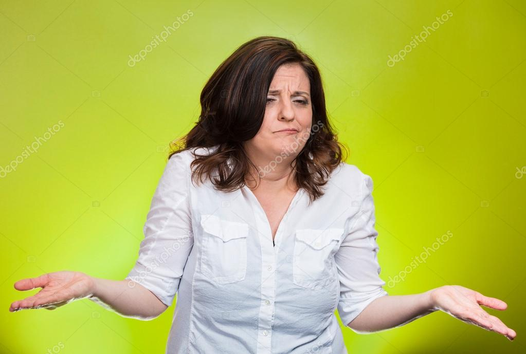 Woman with arms out asking what's the problem who cares