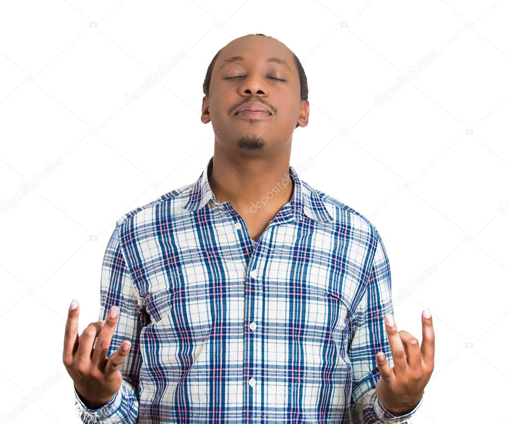 Man with eyes closed, in meditation zen mode