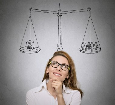 Balance. Woman, student  thinking