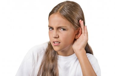 Unhappy hard of hearing young girl