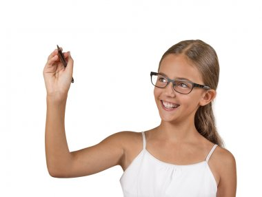 happy teenager girl with glasses writing with pen