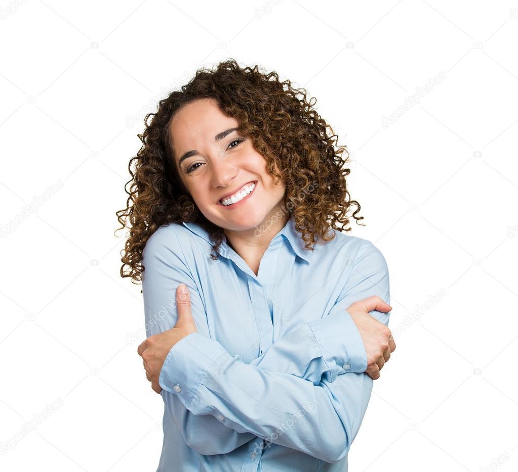 Woman, holding, hugging herself