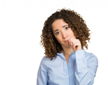 Woman with finger in mouth sucking thumb biting fingernail