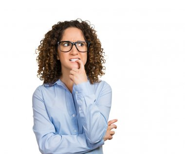 Closeup portrait nervous woman with glasses biting her fingernails craving for something, anxious, isolated white background with copy space. Negative human emotions, facial expressions, body language stock vector