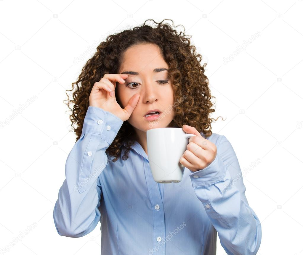 Tired, falling asleep woman, employee holding cup of coffee