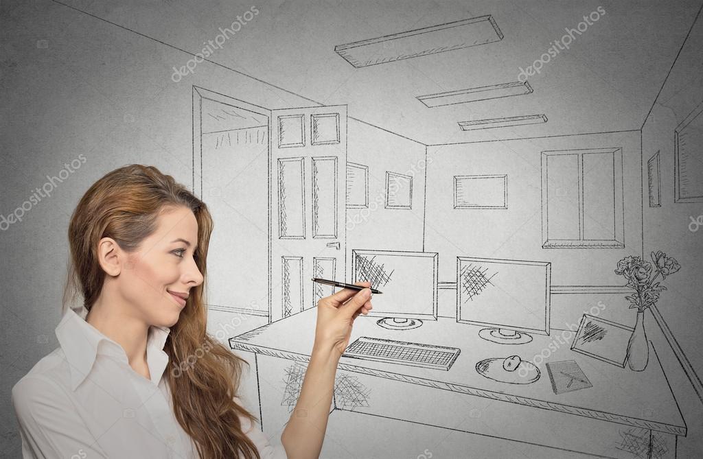 Concepteur De Femme Dessin Avec Un Stylo Futur Appartement Crayon