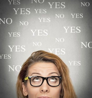 Portrait undecided uncertain woman looking up, grey wall background with yes no choices text. Human face expressions, emotions, feelings. Decision choice making process concept stock vector