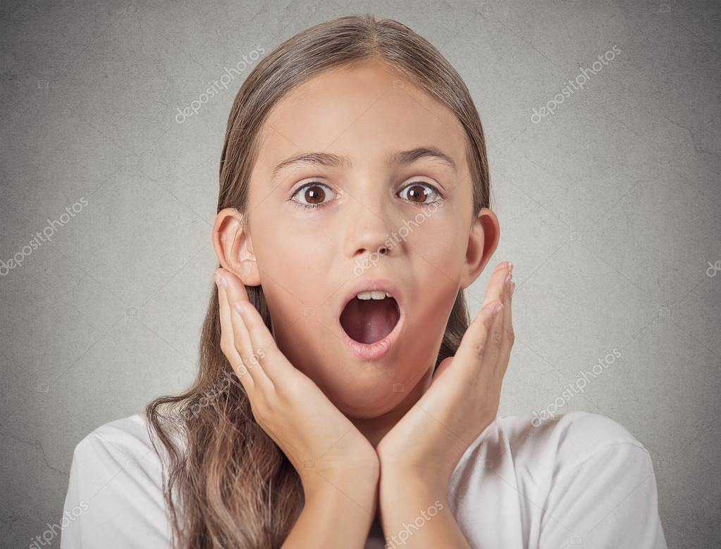 Teenager girl shocked surprised