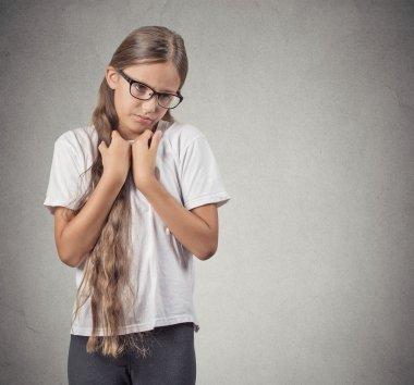 shy teenager girl