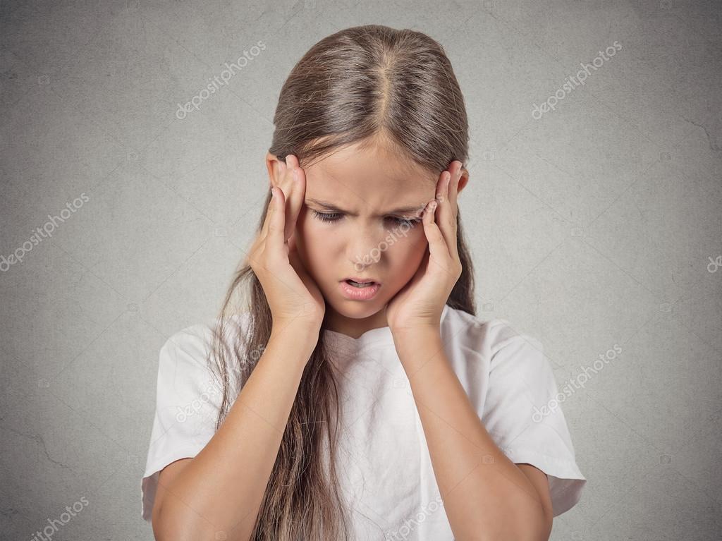 Stressed child, teenager gir