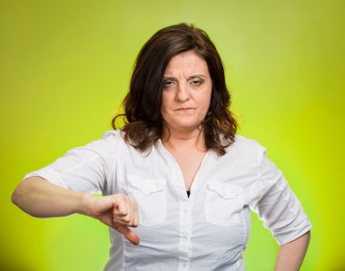 pissed off woman, giving thumb down