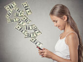 girl holding smart phone sending payment