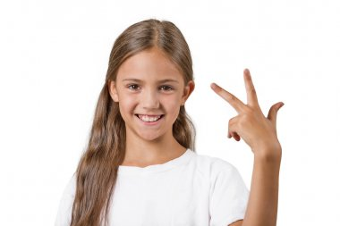 girl showing three fingers
