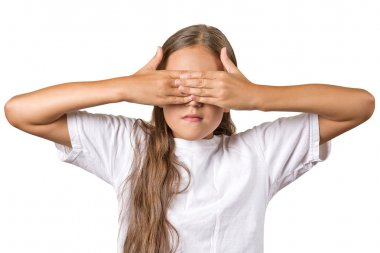 Teenager girl closing covering eyes