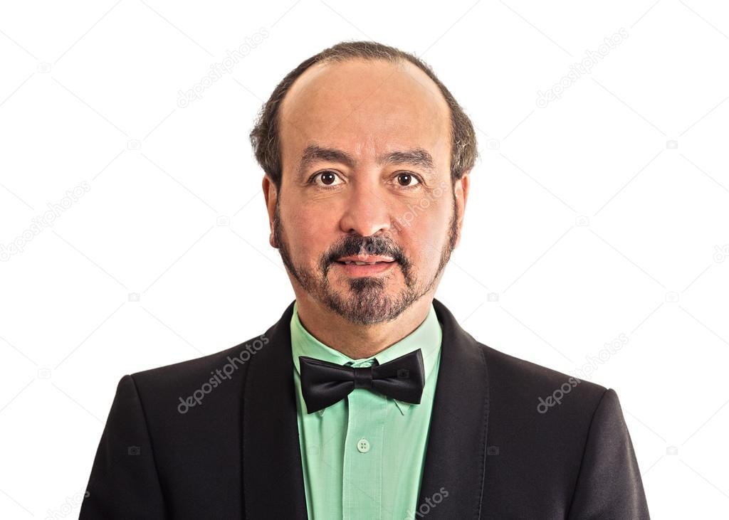 Portrait mature gentleman wearing bow tie