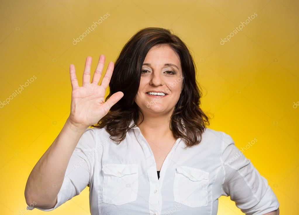 woman making five times sign gesture