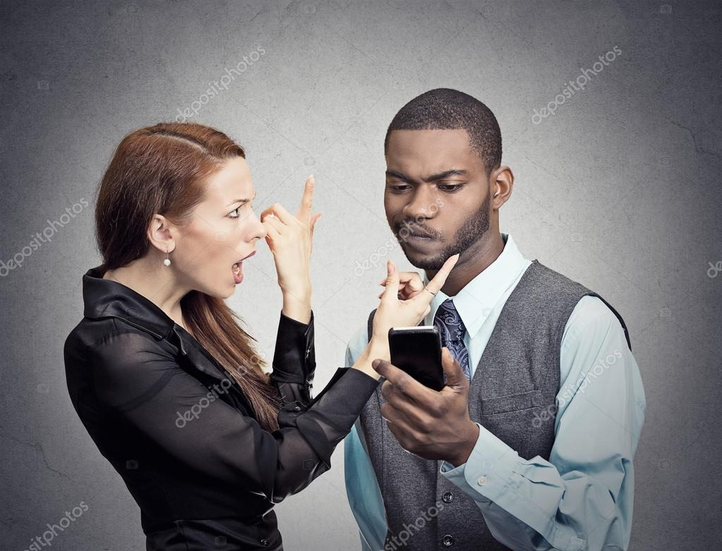 Man ignoring woman obsessed with smartphone