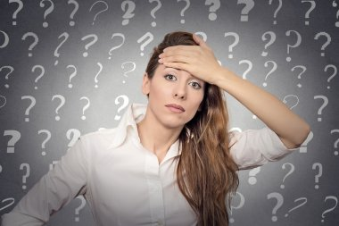 stressed woman has many questions