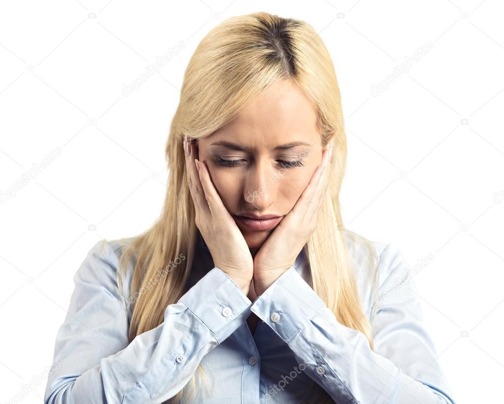 Sad young business woman