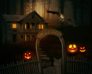 scary creepy Jack O'Lantern in a spooky backyard of a farmhouse.