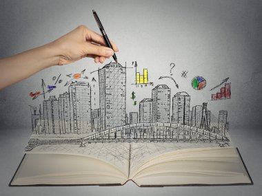 hand drawing city skyline business concept