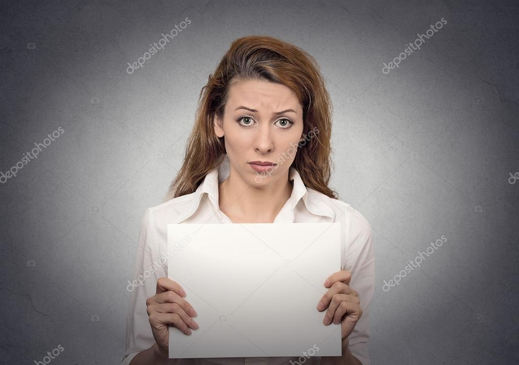 Unhappy woman holding blank card banner