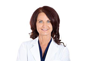 confident happy smiling female doctor pharmacist
