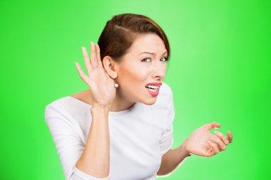 hard of hearing woman asking to speak up