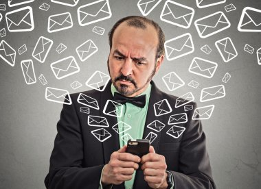 business man busy sending messages emails from smart phone