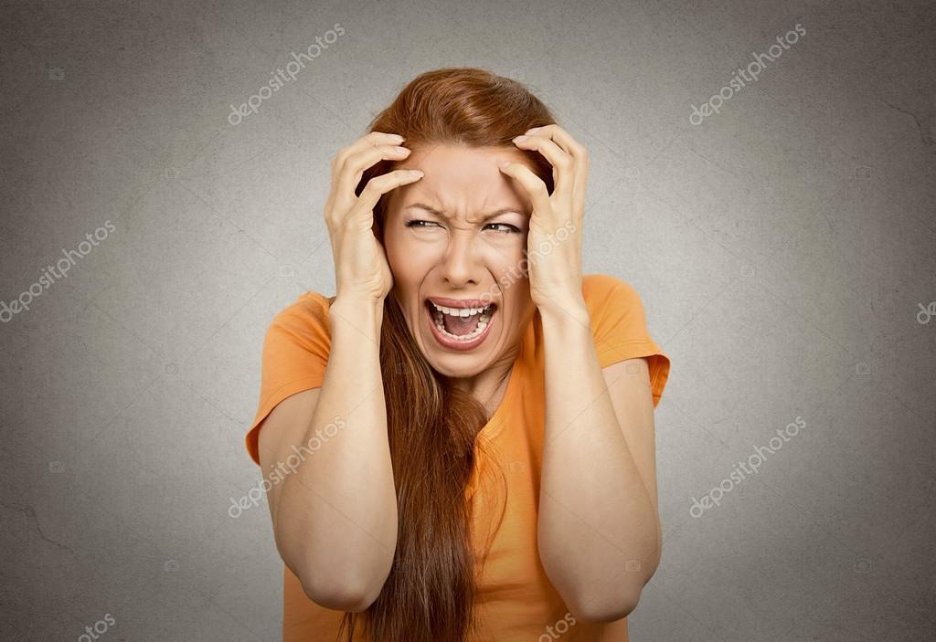 Stressed upset woman having breakdown