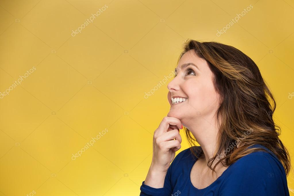 Thoughtful happy woman