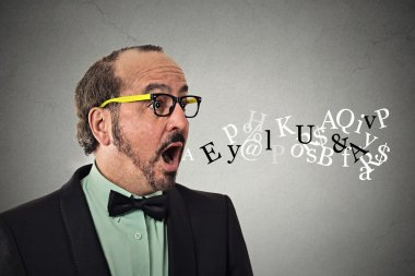 man talking symbols alphabet letters coming out of mouth