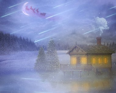 winter storm house on a lake with flying santa delivering gifts on christmas eve