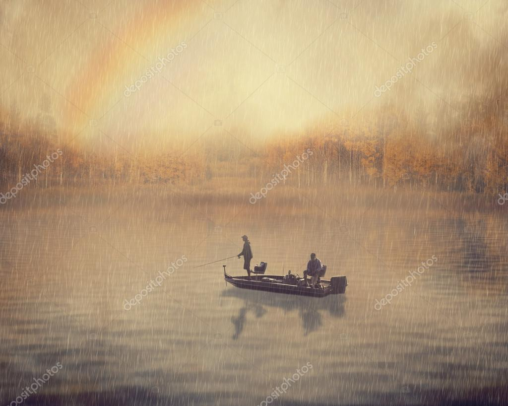 landscape image man and old guy fishing in a boat