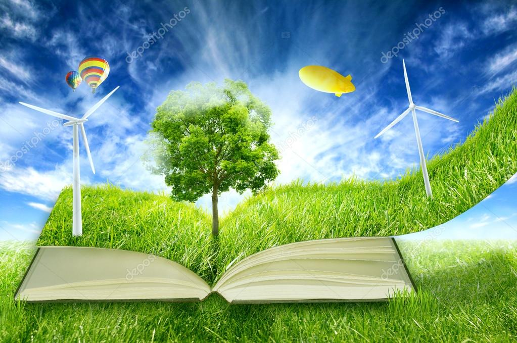 green micro world, book covered with green grass wind energy turbines installed
