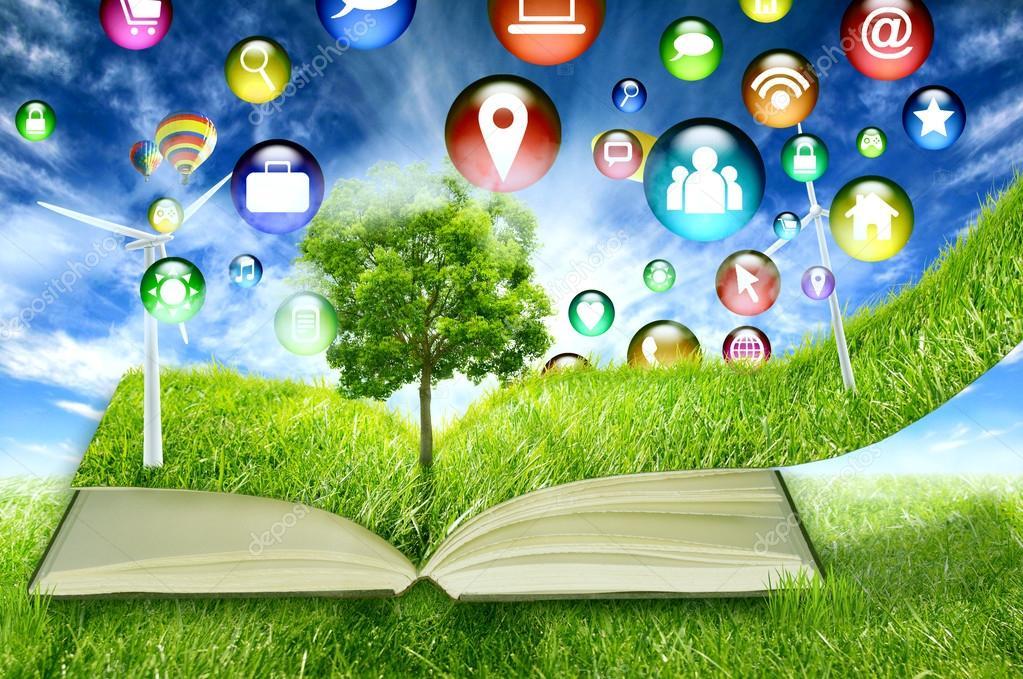 high tech social media application symbol icon flying in green micro world