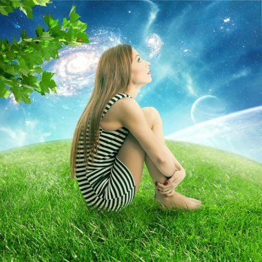 Thoughtful young woman sitting on on a green meadow earth planet looking up at starry sky with moonlight. Ecology eco friendly world concept. Dreamland outdoors relaxation environment  screen saver stock vector