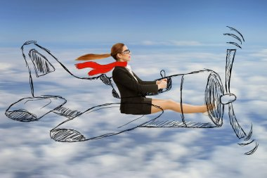 aviator woman with scarf and glasses flying designed airplane