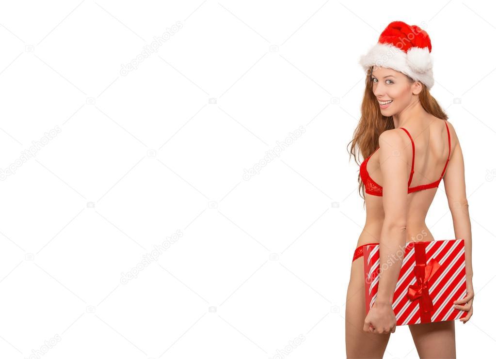 a7310c951 Mulher sexy Natal chapéu de Papai Noel usando lingerie vermelha —  Fotografia de Stock