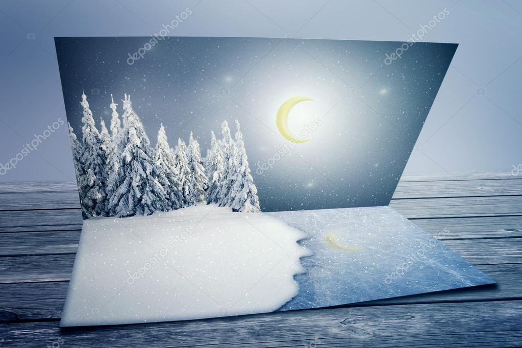 Merry christmas new year nature landscape postcard