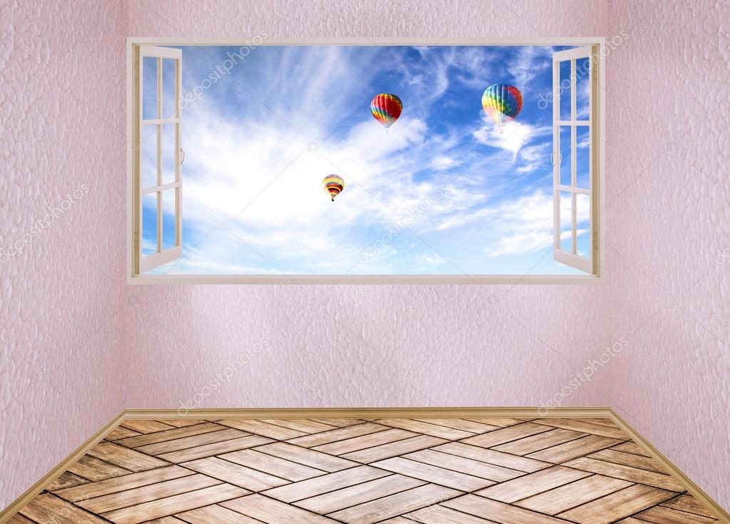 Room with open window and dreamland day light blue sky with air balloons