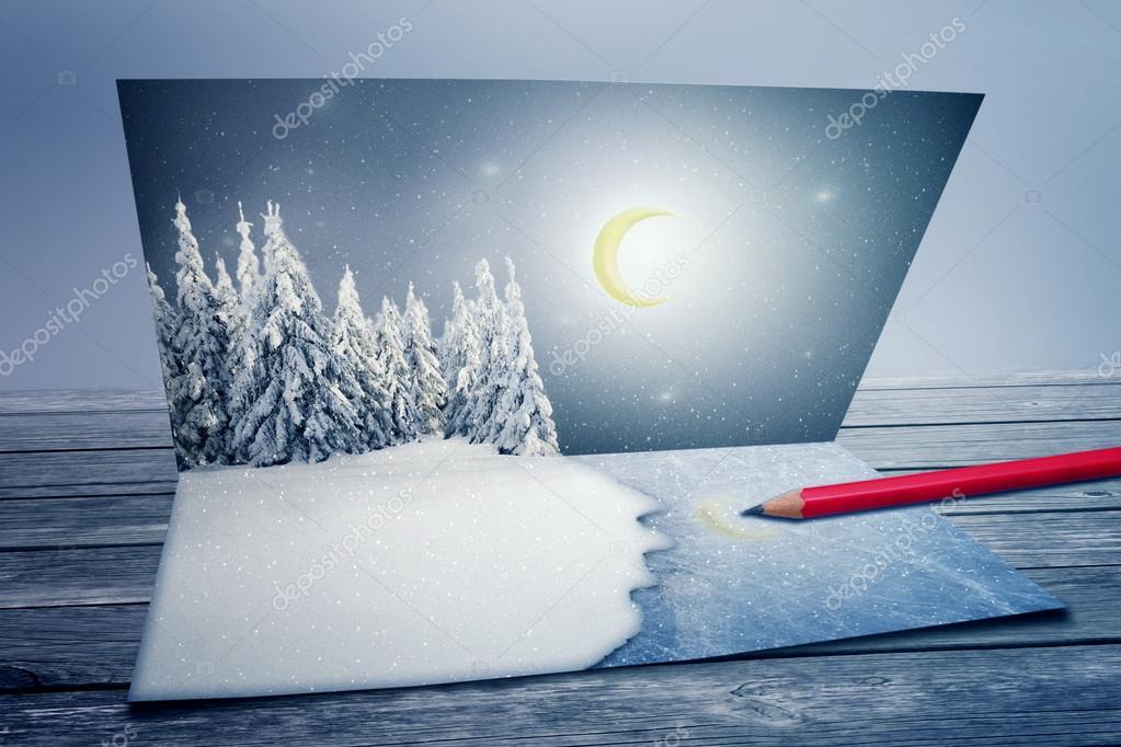 Merry Christmas, new year postcard
