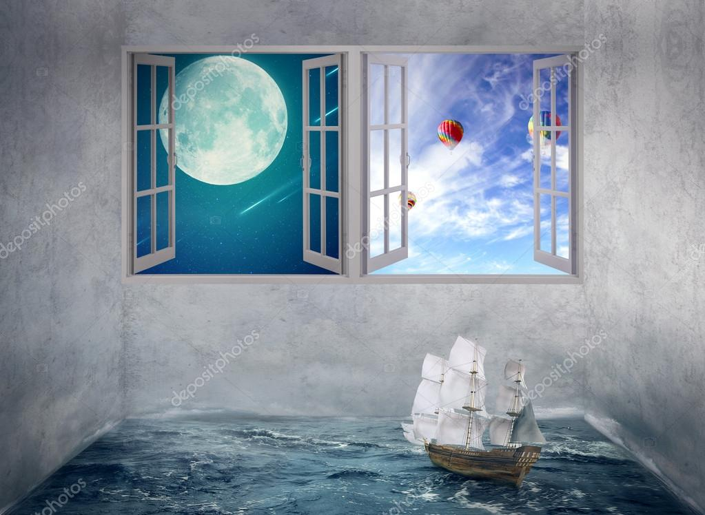 Boat drifts in room with ocean water no course, windows with moon daylight sky