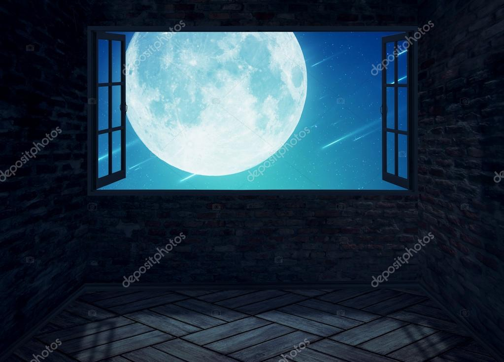 Empty Room With Open Window And Moon Planet View Stock Photo