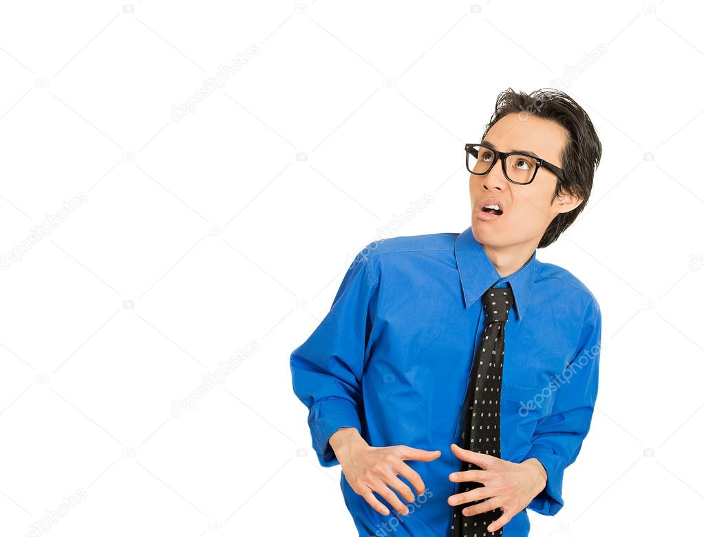 Man looking shocked scared trying to protect himself from unpleasant situation