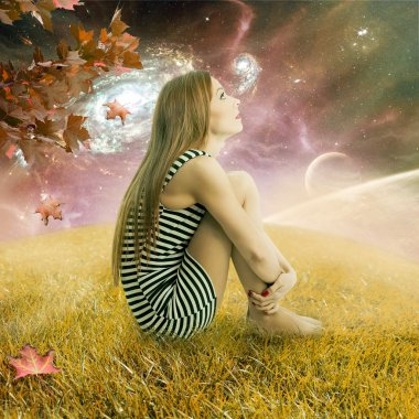 Dreaming young woman sitting on meadow earth looking up at starry sky with planets spinning around orbit. Ecology cosmos stargazing concept. Dreamland outdoors relaxation environment screen saver stock vector
