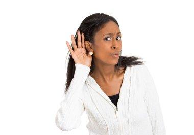nosy surprised woman hand to ear secretly listen in on gossip