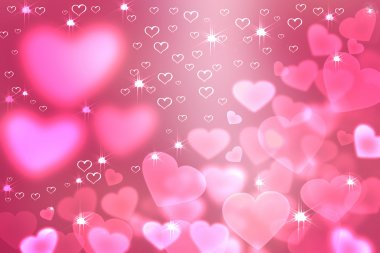 Wallpaper  to Valentine's Day with pink hearts and stars